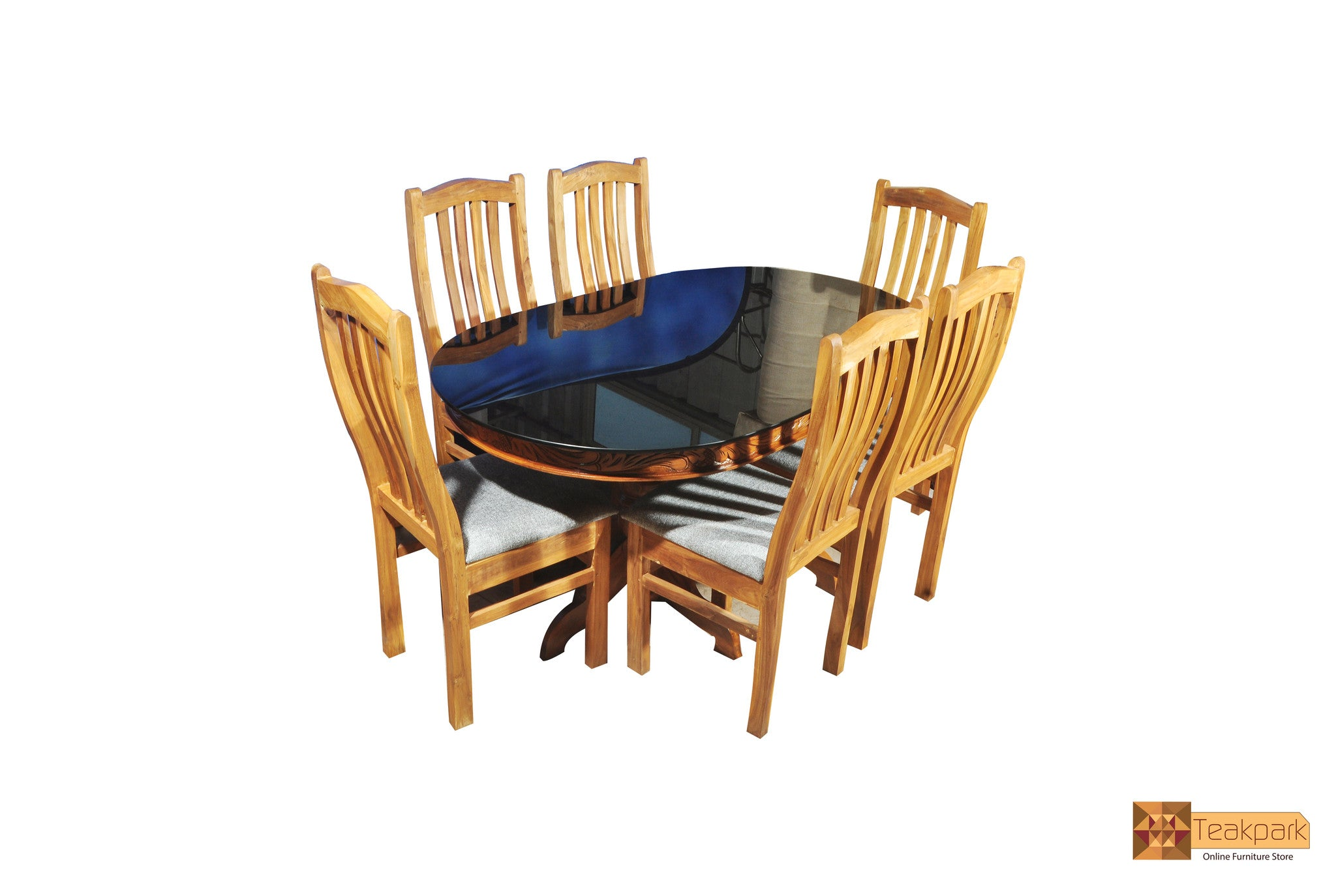 Ganga Oval Teak Wood Dining Set Glass Top Table With 6 Chairs Teakpark