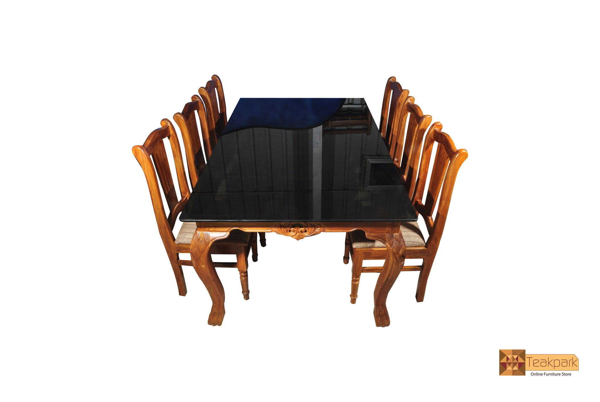 Indus Teak Wood Dining Set Glass Top Table With 6 Chairs Teakpark