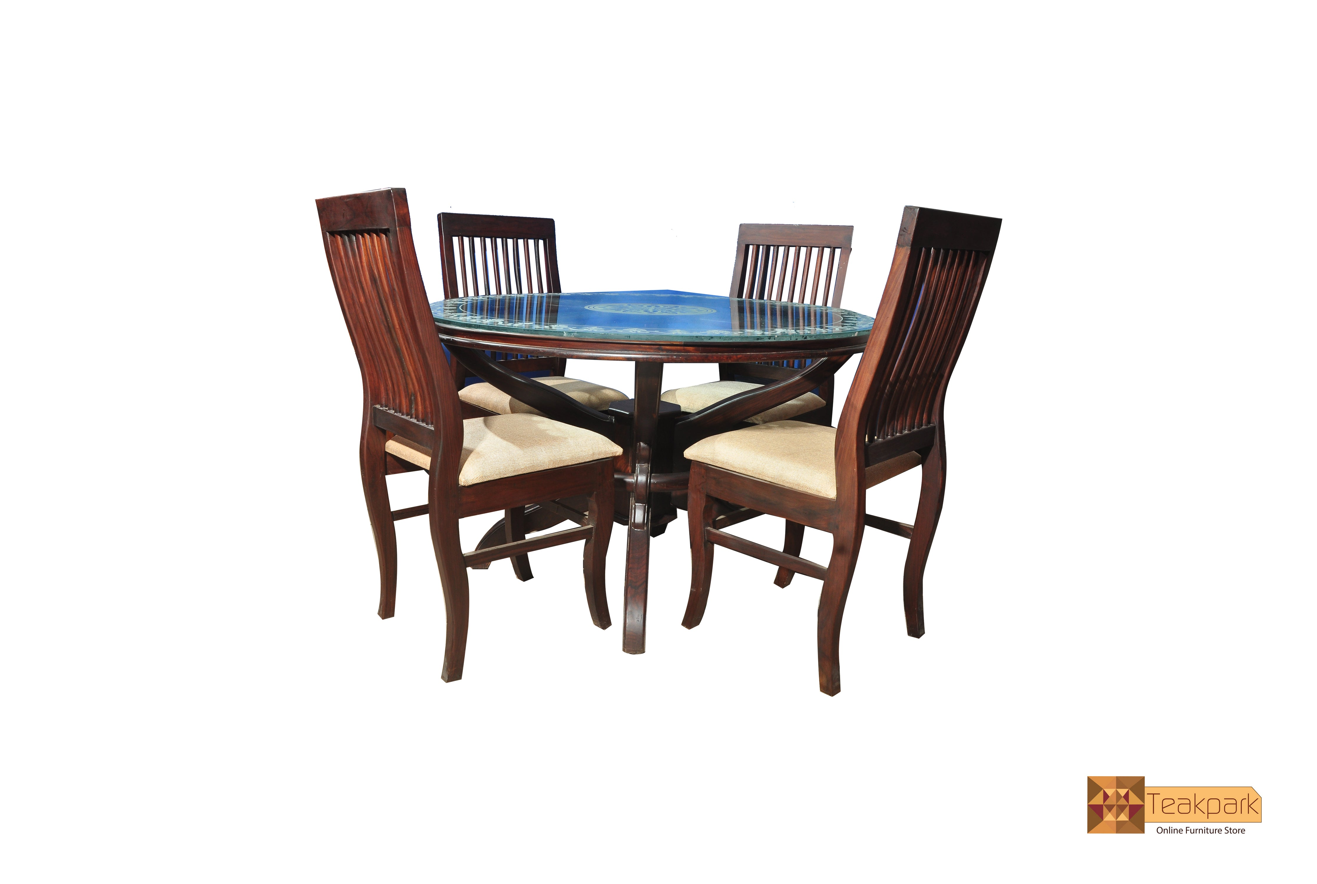 Amazon Round Solid Rosewood Dining Set Glass Top Table With 4 Chairs Teakpark