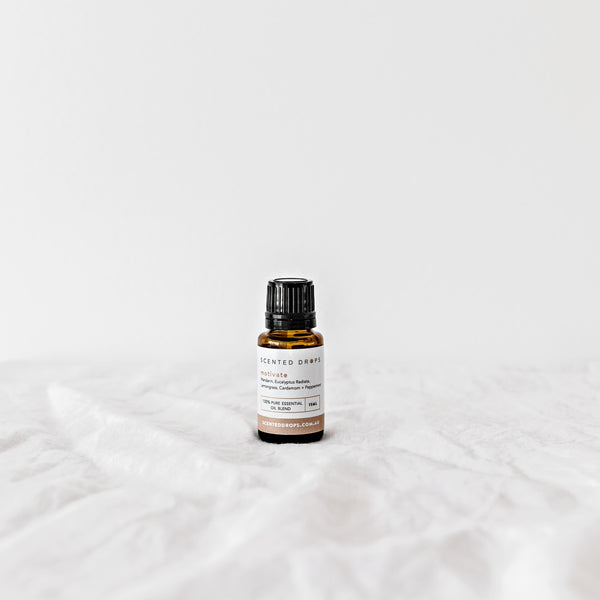 Motivate Pure Essential Oil Blend - Mandarin, Eucalyptus, Lemongrass, Cardamom, Peppermint pure essential oils. Shop Scented Drops, Free Shipping on all orders over $80