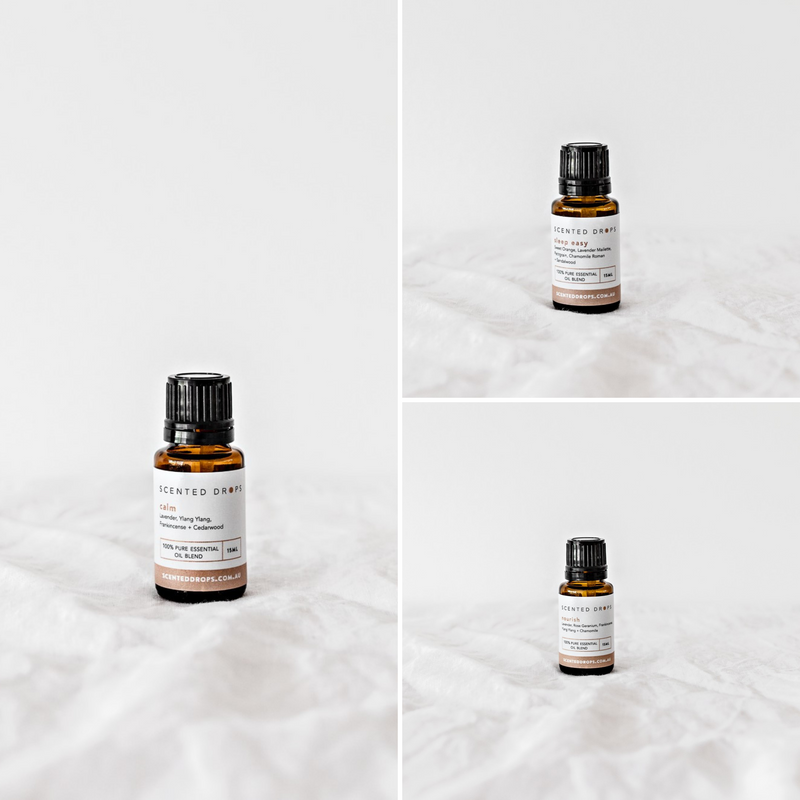 A set of three pure essential oil blends that are perfect for calm and relaxation. Shop Scented Drops online, free shipping on all orders over $80.  Shop Scented Drops online