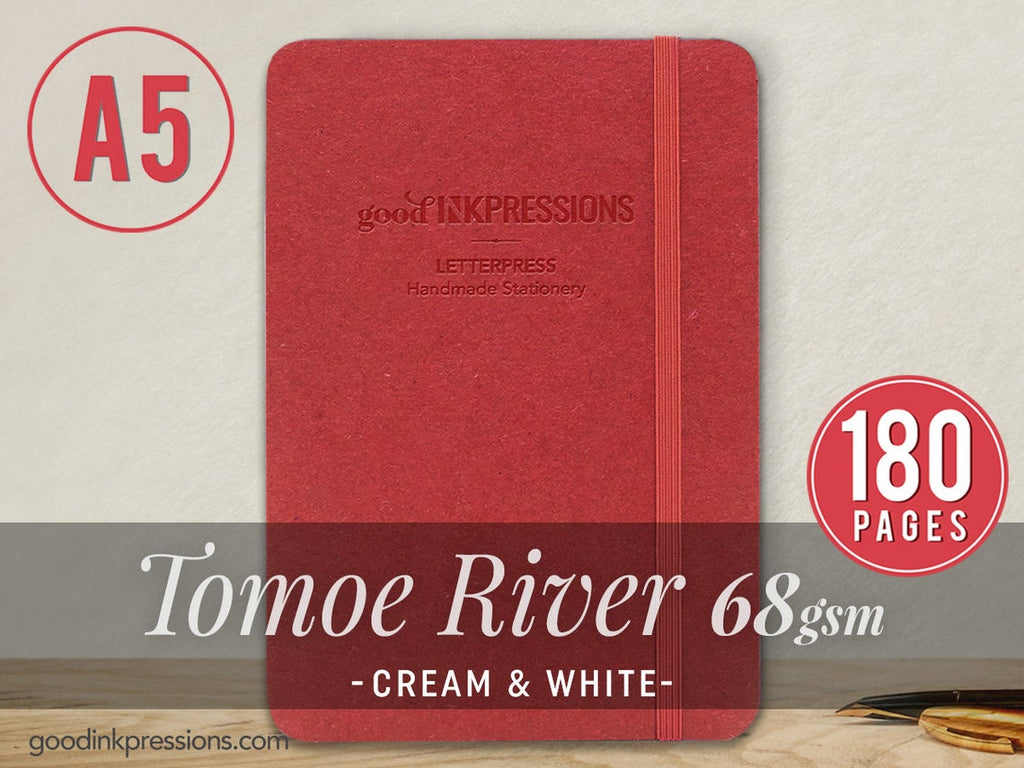 TOMOE RIVER  68gsm 180 pages Notebook WHITE- A5 Size with elastic closure  - handmade by goodINKpressions