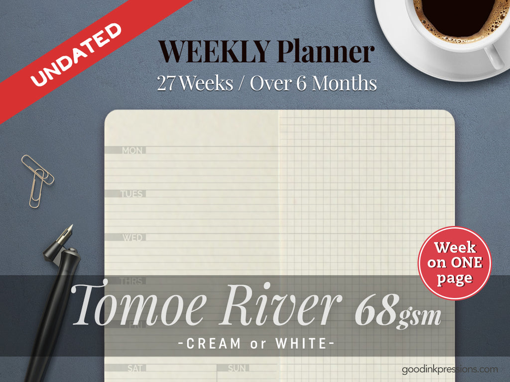TOMOE RIVER 68gsm WEEK on ONE PAGE Planner  - handmade by goodINKpressions