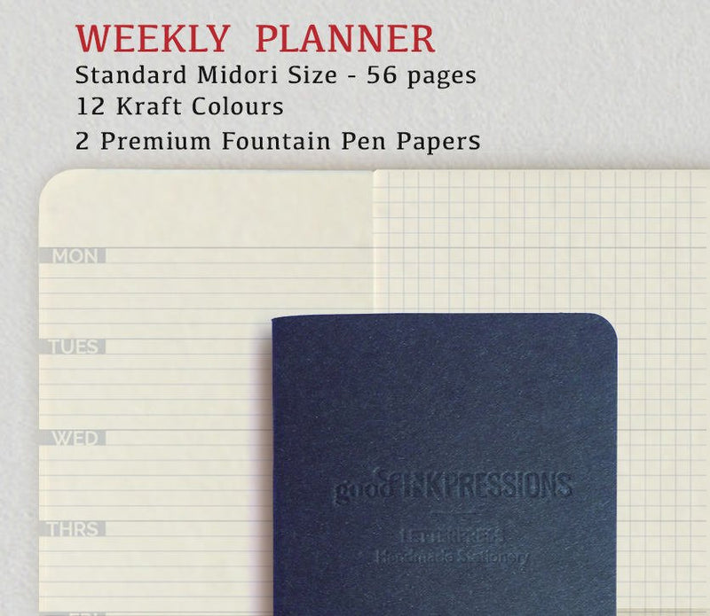 Weekly Planner Navy Blue, Traveller's Notebook -12 colours - Fountain Pen,  Regular A5 Wide B6 Slim Personal, Clairefontaine SplendorGel Fountain Pen Notebooks - handmade by goodINKpressions