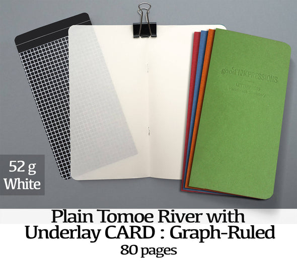 80 pages WHITE - 52gsm  Tomoe River with UNDERLAYS  - handmade by goodINKpressions
