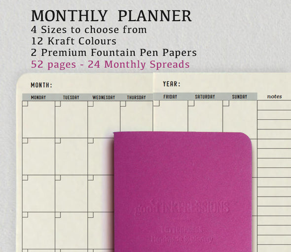 Monthly Planner FUCHSIA, Traveller's Notebook - Traveller's Notebook -12 colours - Fountain Pen,  Regular A5 Wide B6 Slim Personal, Fountain Pen Notebooks - handmade by goodINKpressions
