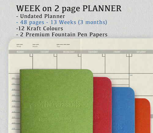 WEEK on 2 PAGES - 12 Colours, Traveller's Notebook - Fountain Pen Papers - Midori Planner Fountain Pen Notebooks - handmade by goodINKpressions