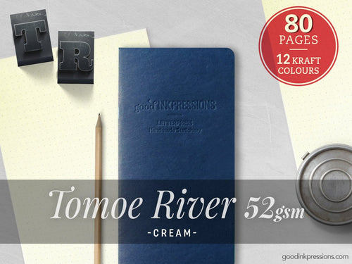 80 Pages- TOMOE RIVER Cream Midori Inserts Fountain Pen Notebooks - handmade by goodINKpressions