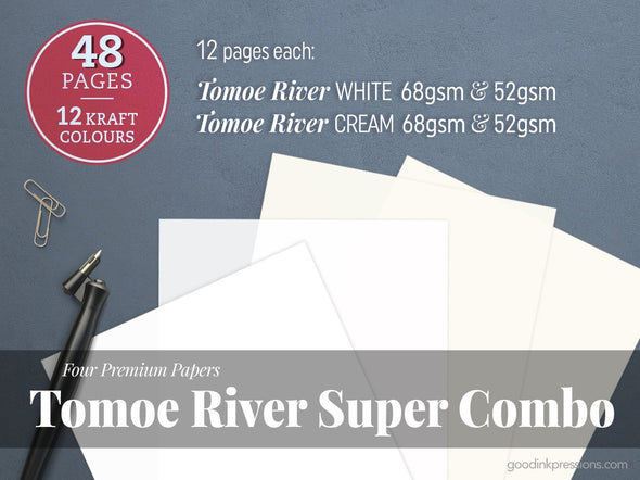 Tomoe River Super Combo, Four Premium Papers, Tomoe River White 68g + Tomoe River White 52g + Tomoe River Cream 68g + Tomoe River Cream 52g Fountain Pen Notebooks - handmade by goodINKpressions