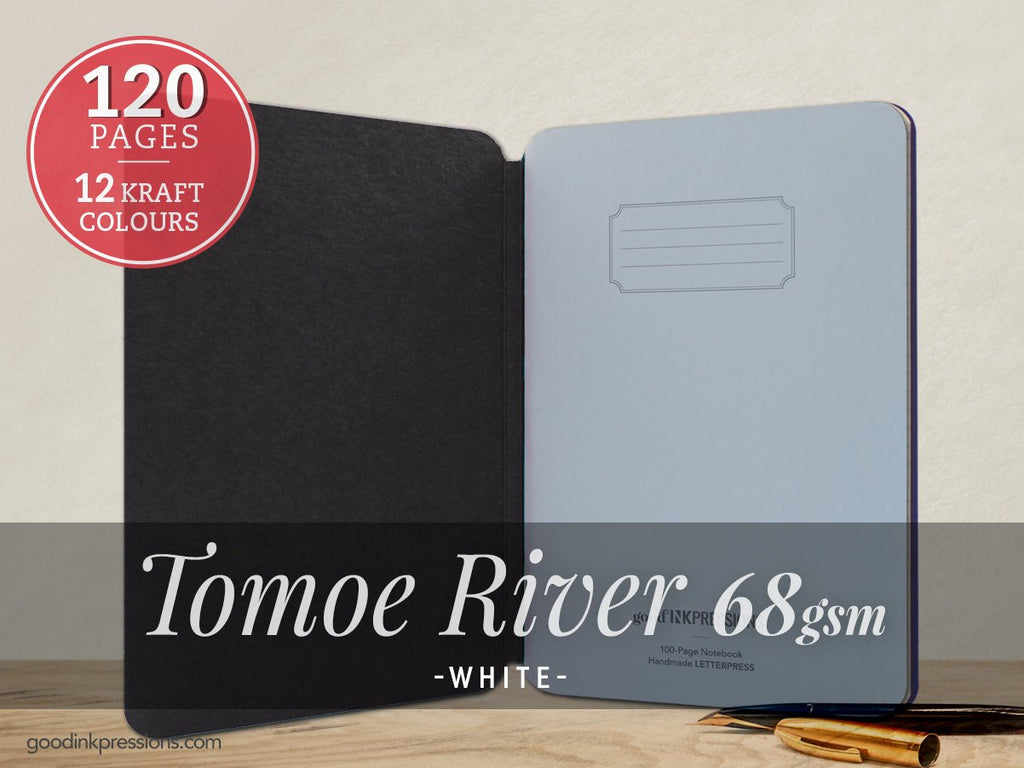 TOMOE RIVER CREAM 68gsm - - A5 size with elastic closure  - handmade by goodINKpressions