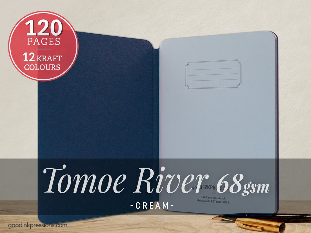 TOMOE RIVER CREAM 68gsm Notebook - A5 Size with elastic closure