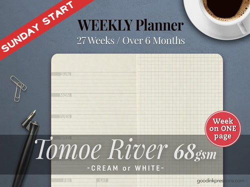 Tomoe River 68gsm WEEKLY Planner, SUNDAY start, Traveler's Notebook - 12 colours, Fountain Pen Paper Hobonichi Weeks Fountain Pen Notebooks - handmade by goodINKpressions