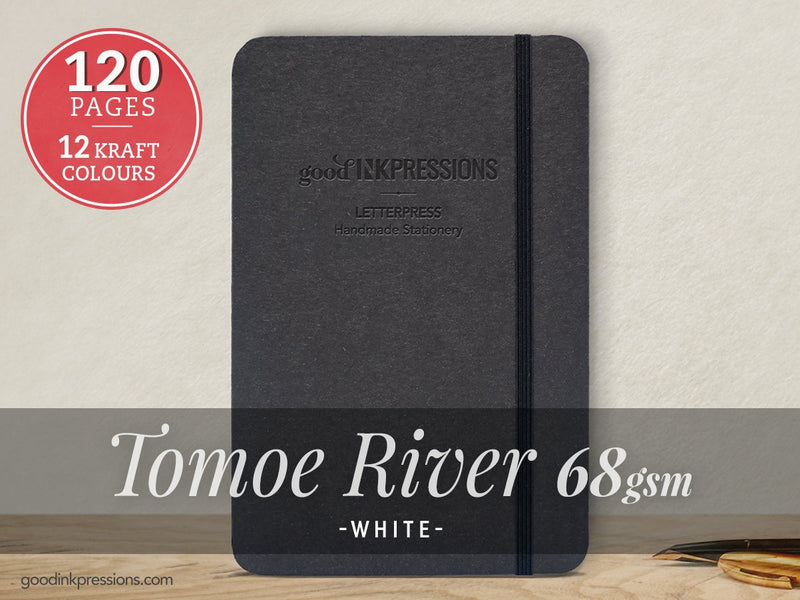 120pg TOMOE RIVER WHITE 68gsm Notebook - Perfect Gift - iPad Mini Size - Fountain Pen Friendly - Bullet Journal - Xmas Gift - A5 - GoodInkPressions