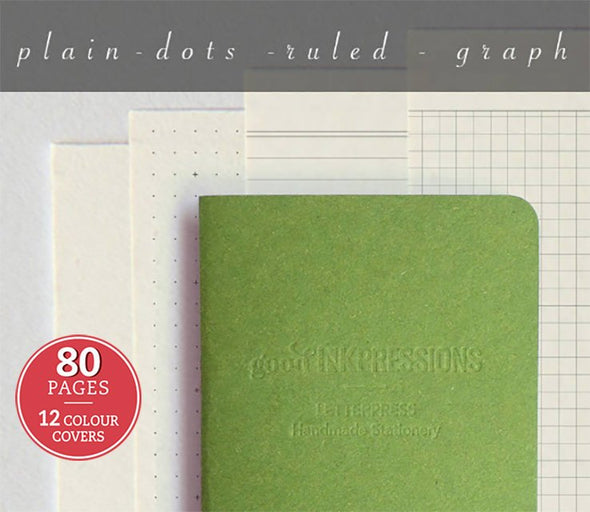 KIWI colour Midori, CLAIREFONTAINE, 80 page - 12 colours - Fountain Pen, Bullet Journal,  Regular A5 Wide B6 Slim Personal A6 FN Passport Fountain Pen Notebooks - handmade by goodINKpressions