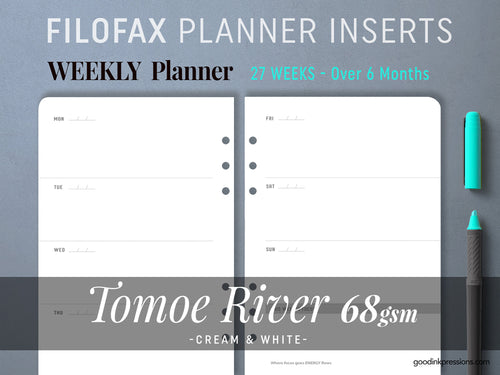 FILOFAX - TOMOE River 68gsm WEEKLY Planner, Week on Two Pages, Fountain Pen Paper