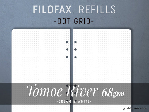 FILOFAX REFILLS 80 sheets - TOMOE River 68gsm - Cream & White - Fountain Pen Paper - B5- A5- Personal- Pocket
