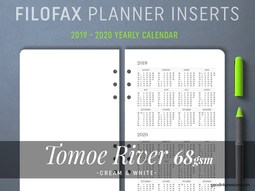 FILOFAX - TOMOE River 68gsm MONTHLY Planner, Fountain Pen Paper