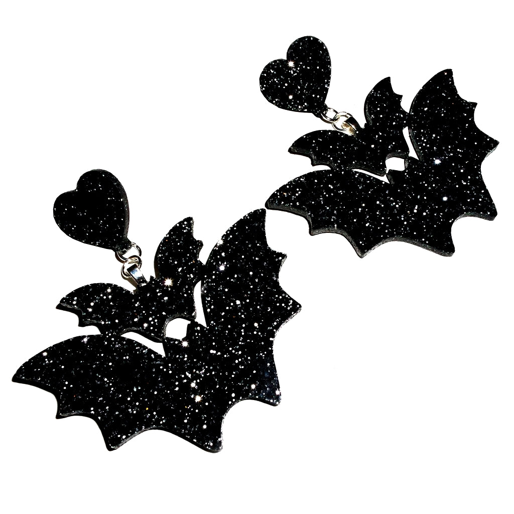 Double Bat Earrings ~ Black Glitter