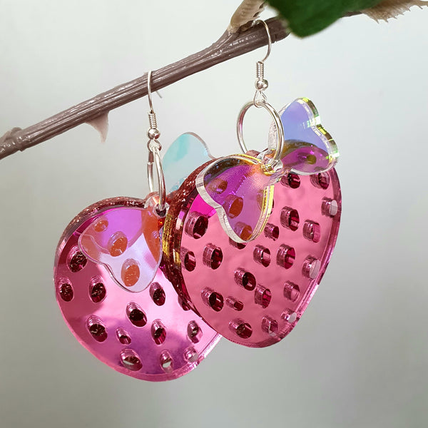 Juicy Earrings (Bright Pink)