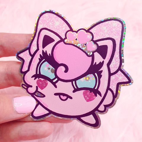 Grumpy Puff Holographic Sticker