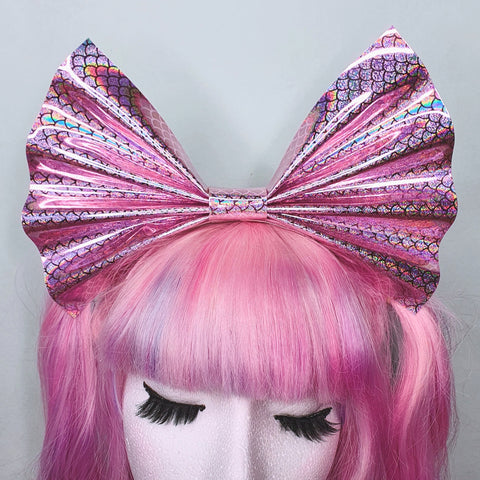 Giant Mermaid Headbow ~ Holographic Pink