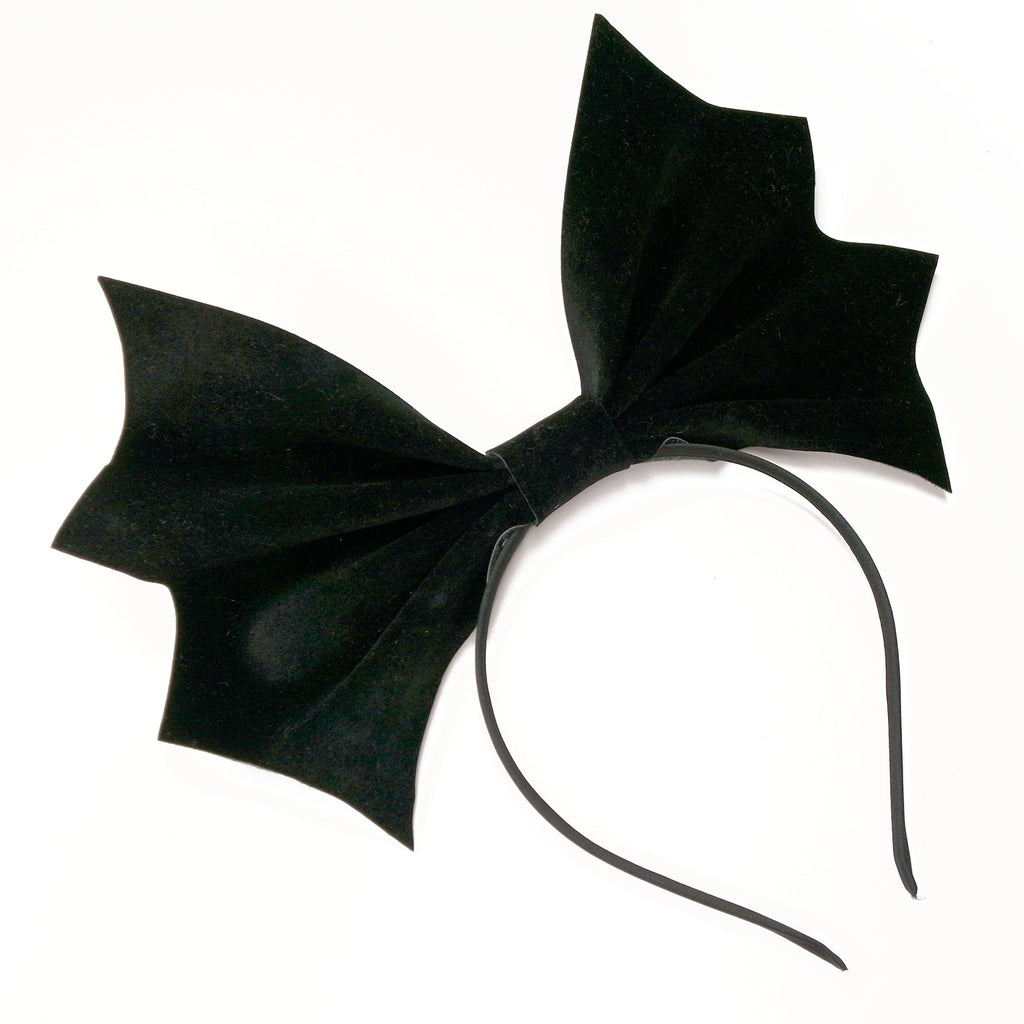 Velvet Bat Headbow ~ Black (made to order)