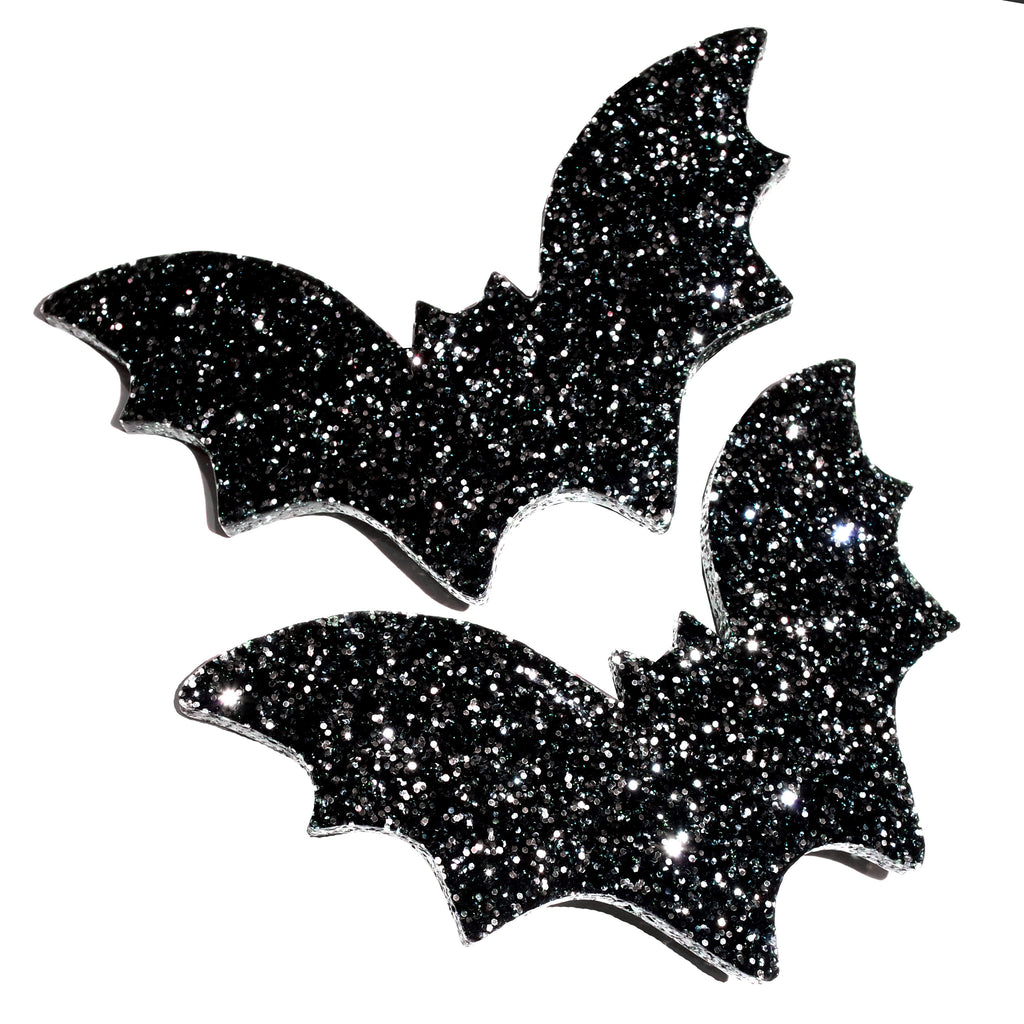 Glitter Bat Hair slides ~ Black