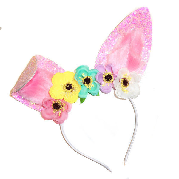Fluffy Bunny Ears Headband ~ Pastel Flowers