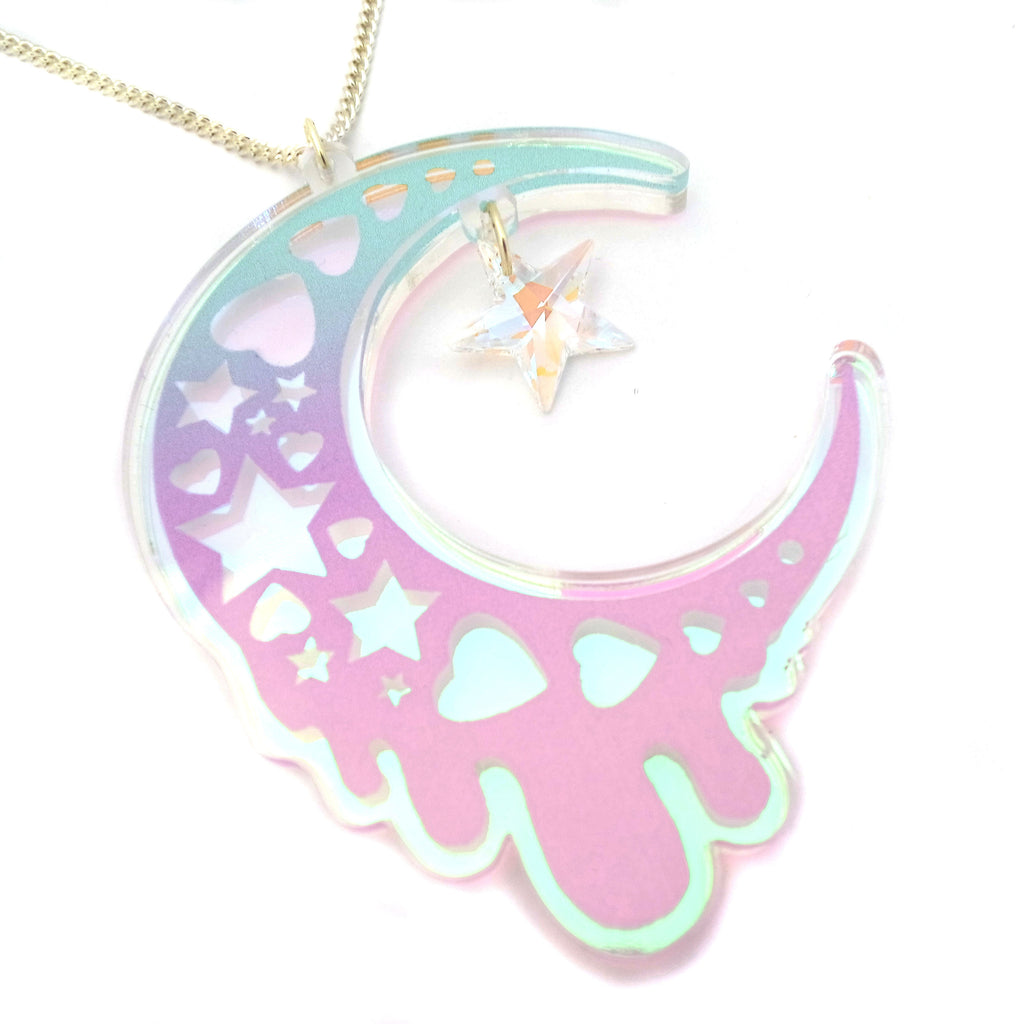 Luna Moon Necklace ~ Pastel Ombre (Iridescent)