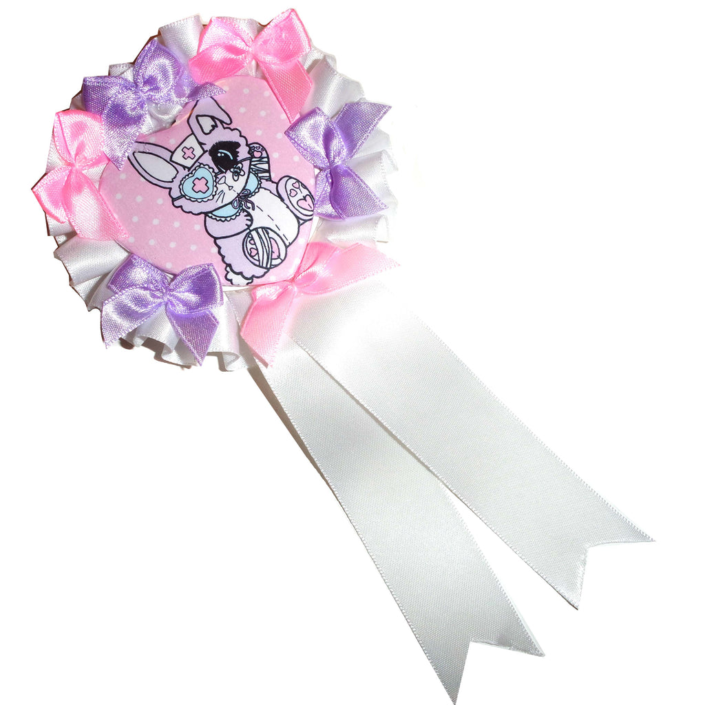 Menhera Bunny Heart Rosette Badge