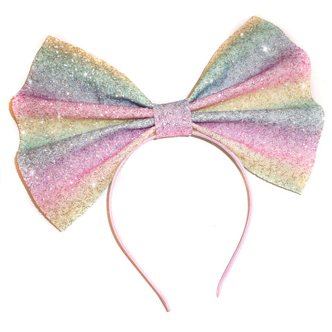 Giant Glitter Headbow ~ Pastel Rainbow (made to order)