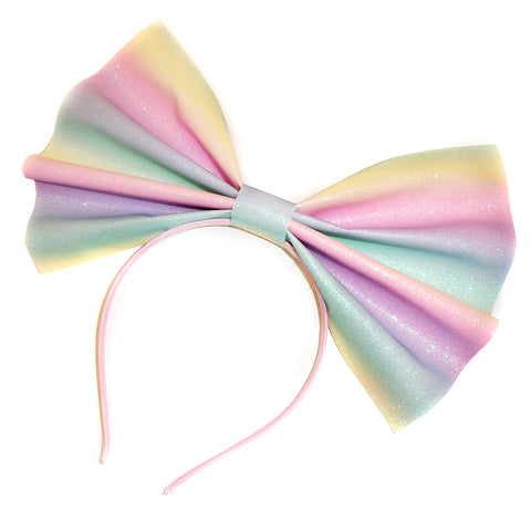 Giant Glitter Headbow ~ Pastel Rainbow (Fine Glitter) *Made to order