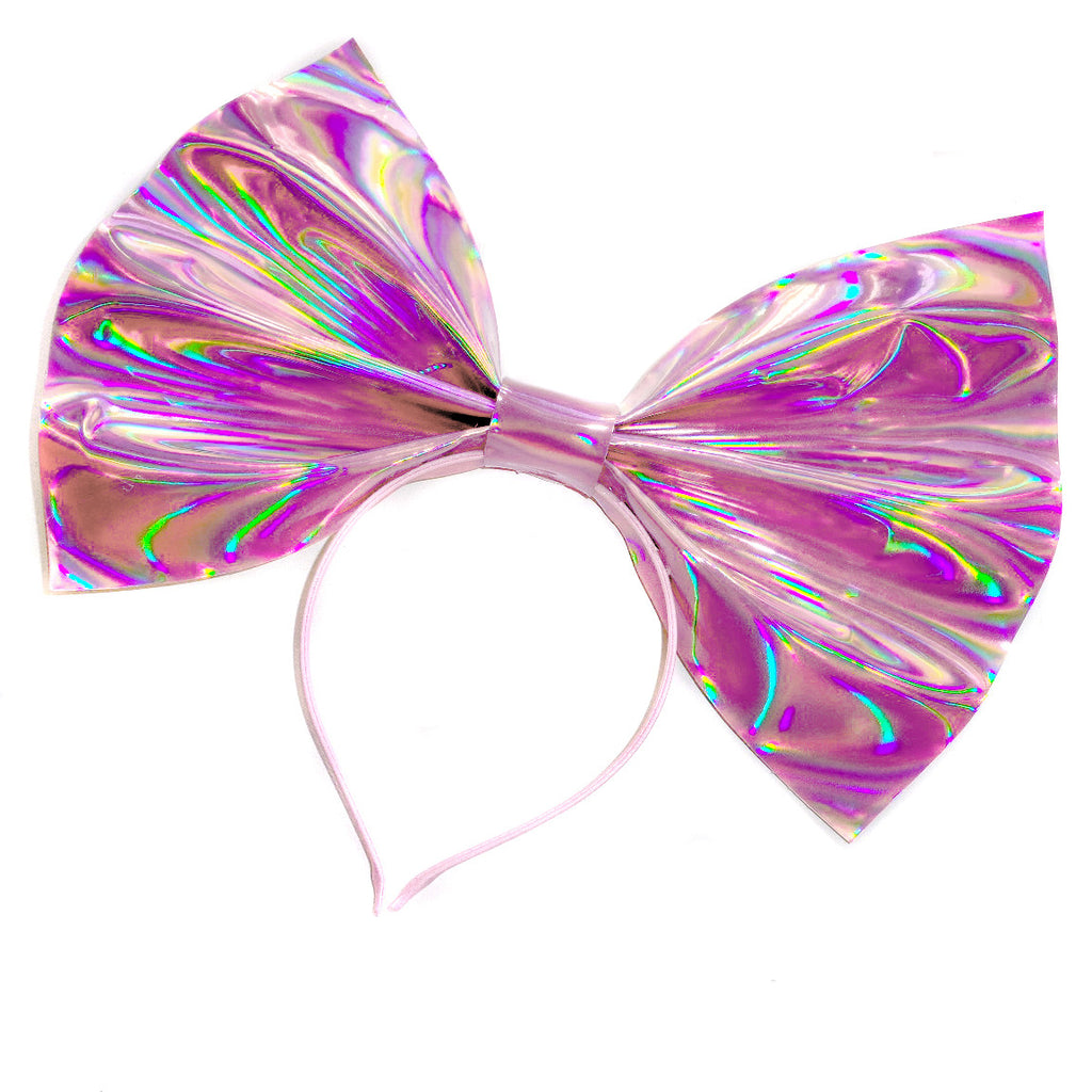 Giant Holographic Headbow ~ Pink