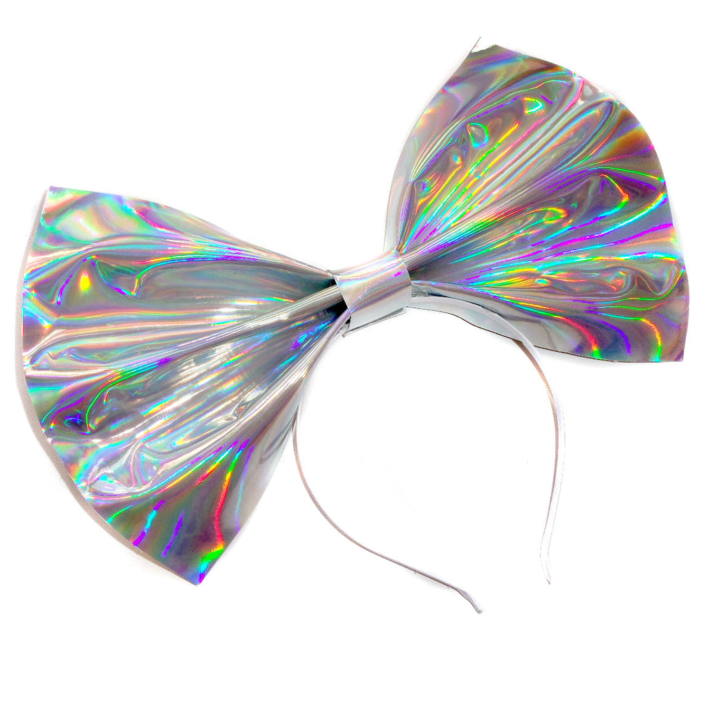 Giant Holographic Headbow ~ Silver