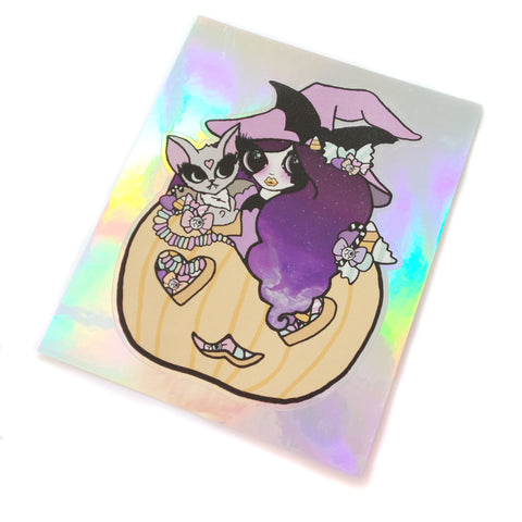 Too Cute to Spook Holographic Sticker