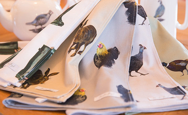 Violet Guinea Fowl Tea Towel