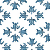 Blue Turtle Fabrics by the Metre - on White Background