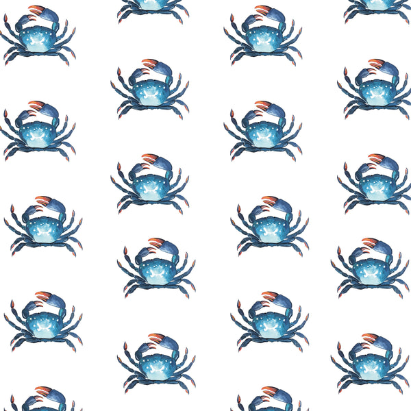 Cornish Crab Fabrics by the Metre - on White Background