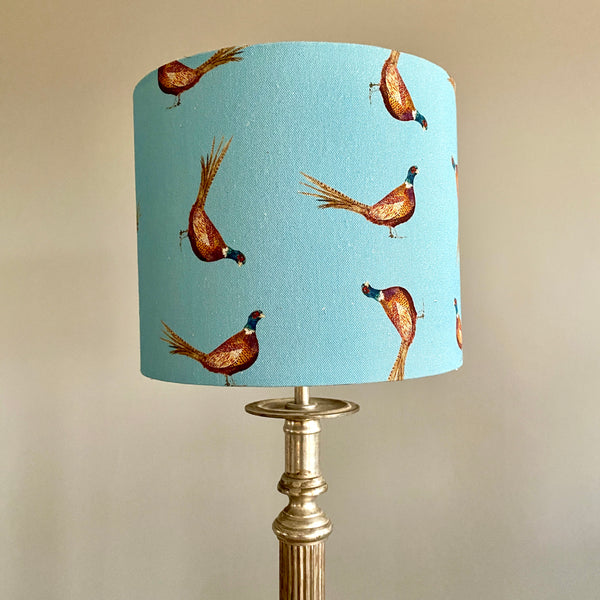 William Pheasant Drum Lampshade - 25cm Table Lamp Fitting