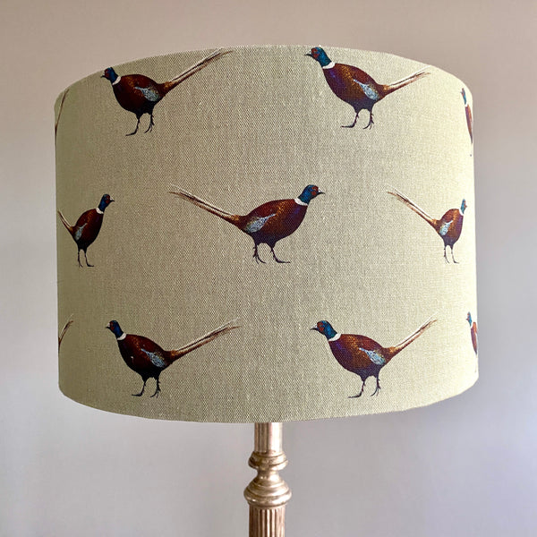 Ernie Pheasant Drum Lampshade - 30cm Table Lamp Fitting