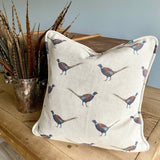 Ernie Pheasant Fabrics by the Metre - on Natural Background