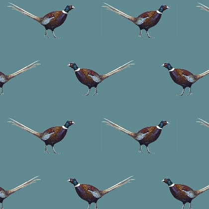 Ernie Pheasant Burghley Blue 100% Cotton Fabric