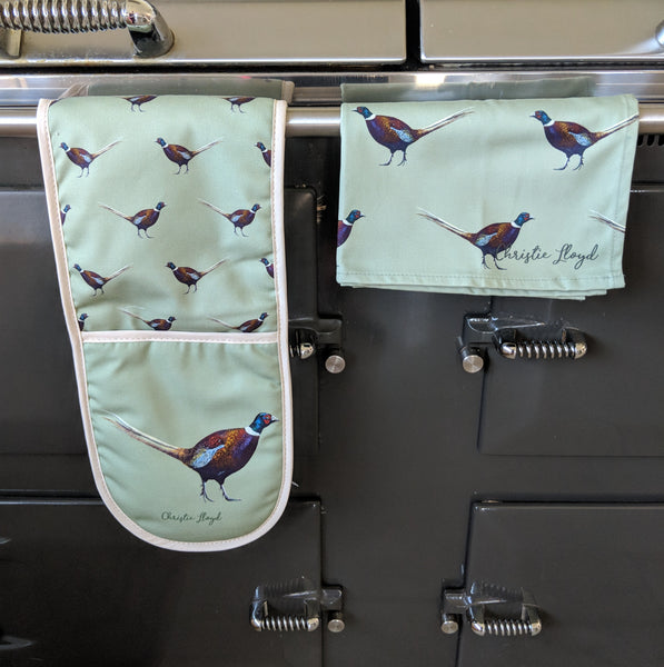 Ernie Pheasant Oven Gloves and Tea Towel Set