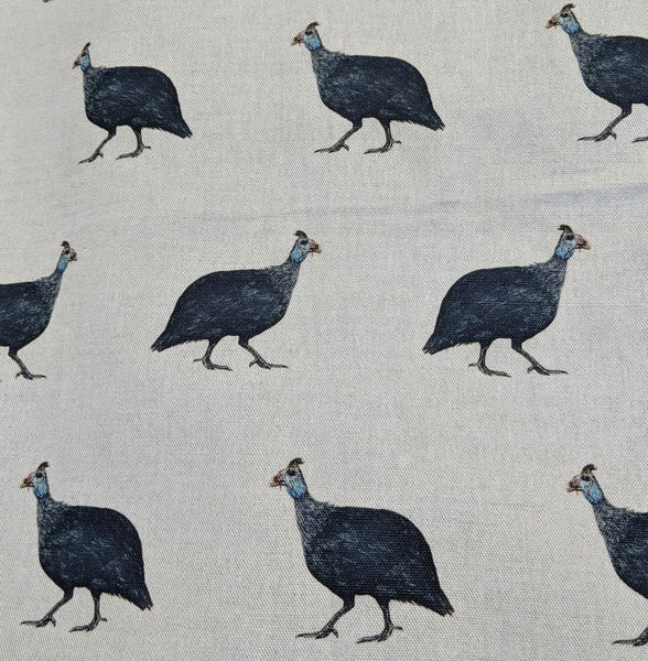 Violet Guinea Fowl Fabrics by the Metre - on Amanda Grey Background