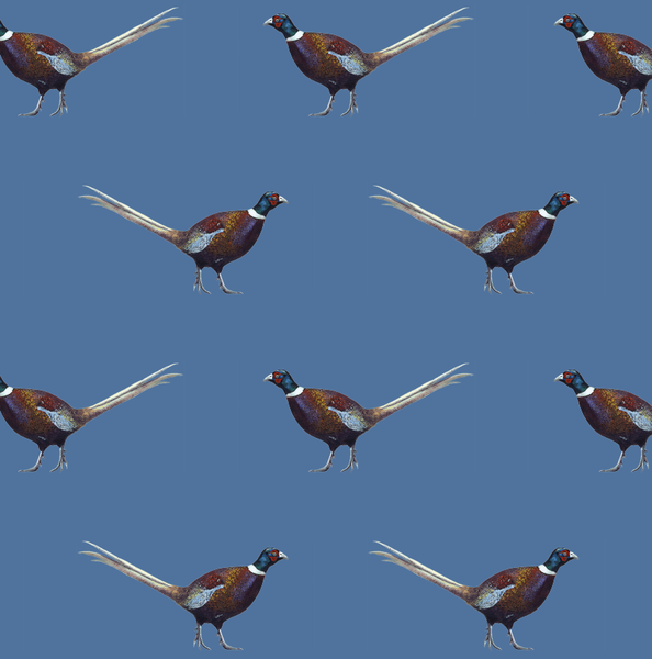 Ernie Pheasant Deep Blue 100% Cotton Fabric