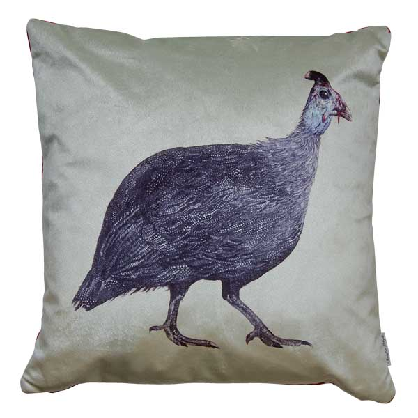 Violet Guinea Fowl Velvet Cushion