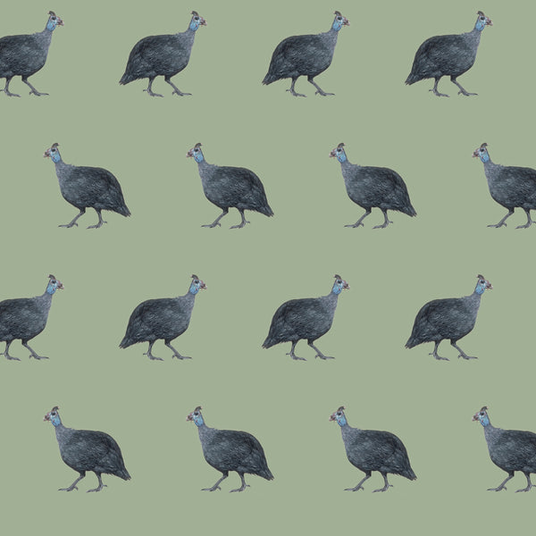 Violet Guinea Fowl Fabrics by the Metre - on Meadow Green Background