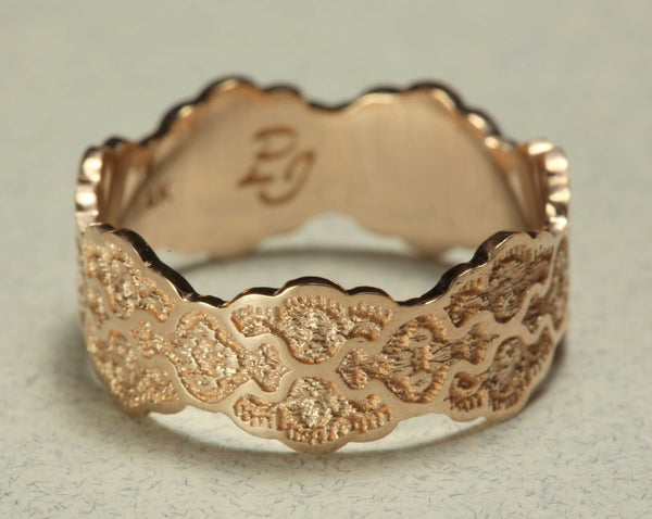 Lace Rose Gold Wedding Ring, 14K Rose Gold Wedding Band, Anniversary Gold Ring