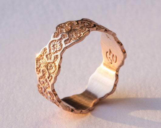 Lace Rose Gold Wedding Ring, Rose Gold Wedding Band, 14K Gold Lace Ring, Anniversary Gold Ring