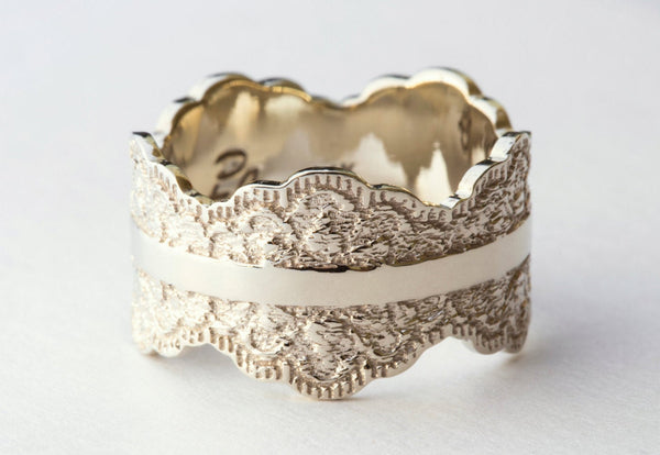 White Gold Wedding Band with Lace Texture, White Gold Band, White Gold Wedding Ring